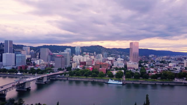 Aerial Shot of Waterfront of Portland, Oregon