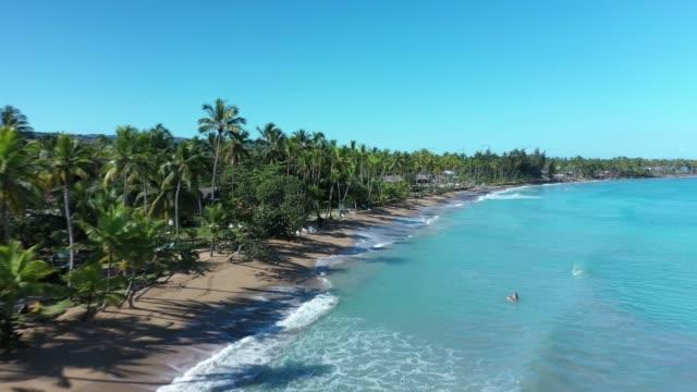 ドミニカ共和国のビーチで波とサーフの空中ショット - ドミニカ共和国点の映像素材/bロール