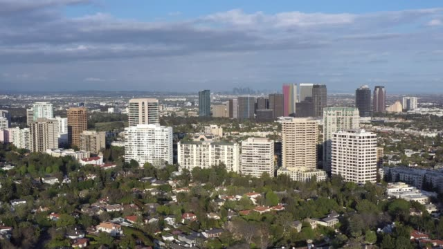 aerial shot of westwood neighborhood in los angeles - westwood neighborhood los angeles stock videos & royalty-free footage