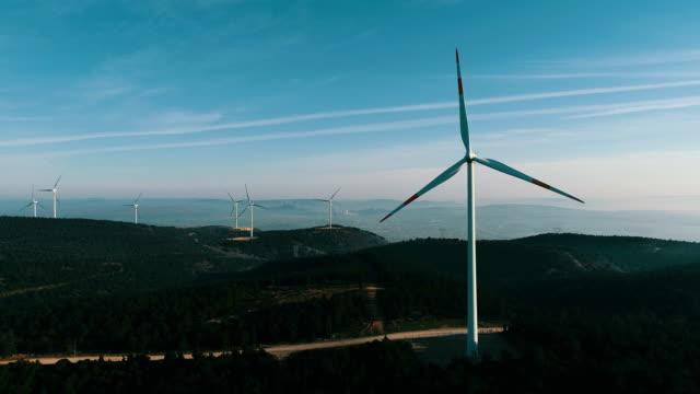Aerial shot of wind turbines