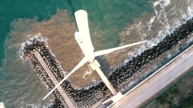 aerial shot of windmill - power in nature stock videos & royalty-free footage