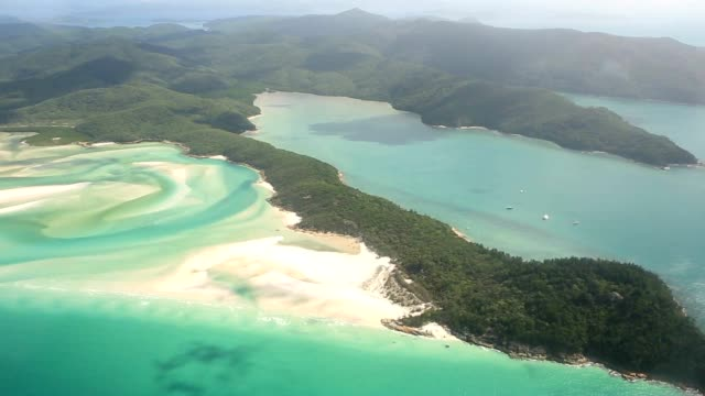 Aerial shot of withe haven beach in the Whitsundays Island