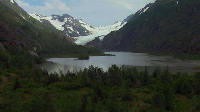 aerial shot of wosenesenski glacier alaska - kenai peninsula stock videos & royalty-free footage