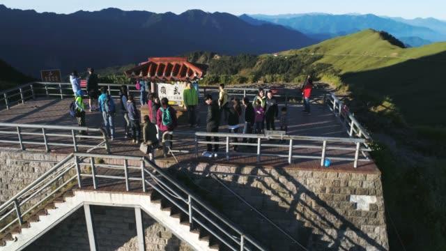aerial shot of wuling(wu peak), hehuan mountain, taroko national park, taiwan - taiwan stock videos & royalty-free footage