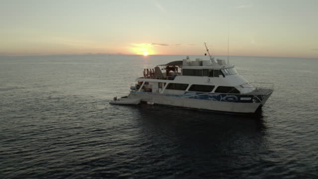 vídeos de stock e filmes b-roll de aerial shot of yacht with people on sea against sky at sunset, drone flying backward over moored boats - great barrier reef, australia - cruzeiro