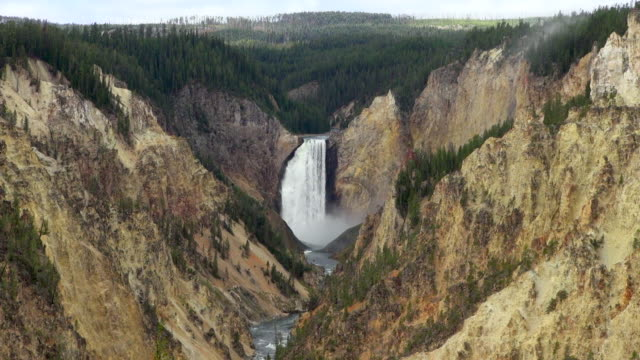 Aerial Shot Of Yellowstone Grand Canyon And Falls
