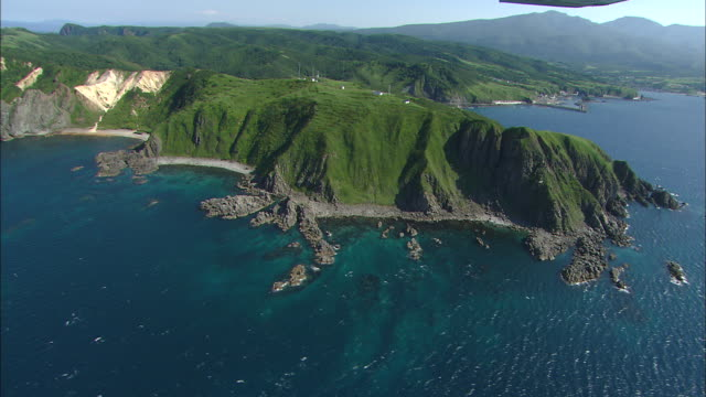 Aerial Shot on Cape Shakotan Wide and Long Shot Cape Shakotan formed on the beach of columnar joint