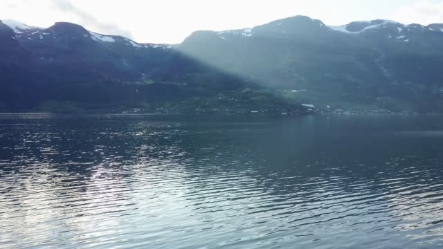 Aerial shot on fjord and mountains in Norway