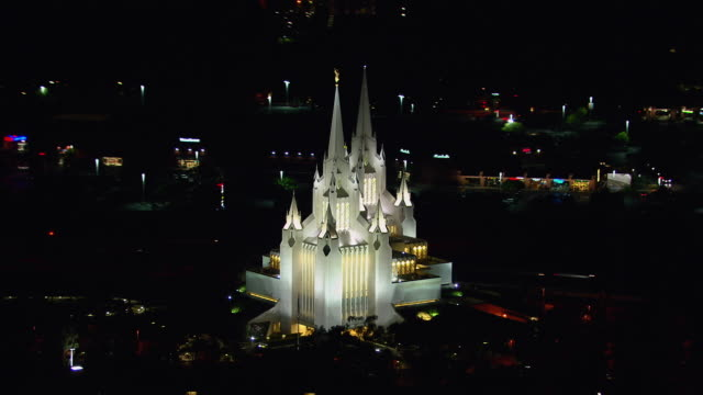 aerial shot orbiting around the san diego california temple, a mormon church, in san diego, california. - mormon temple stock videos and b-roll footage