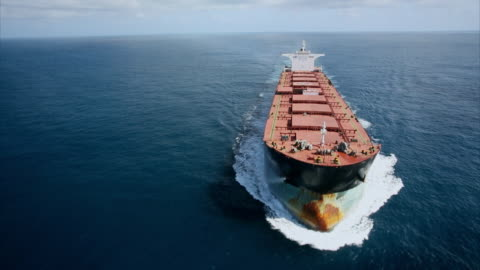 aerial shot over a huge transport tanker ship. - industrial sailing craft stock videos & royalty-free footage