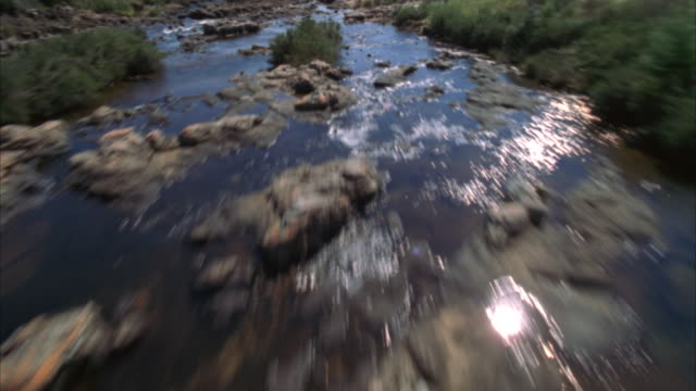 aerial shot over a rocky river then over the edge of a cliff to a river canyon and waterfalls - sabie stock videos and b-roll footage