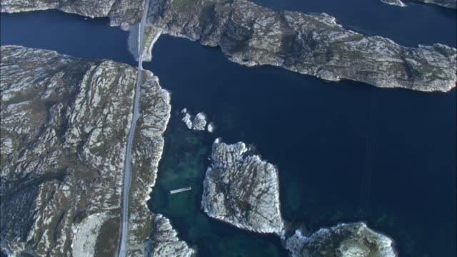 Aerial shot over a section of the Atlantic Ocean Road in western Norway.