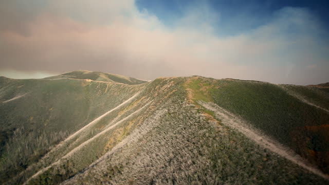 Aerial shot over charred hills following a forest fire in New South Wales.