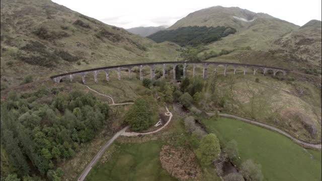 Aerial shot over Glenfinnan Viaduct in the Scottish Highlands
