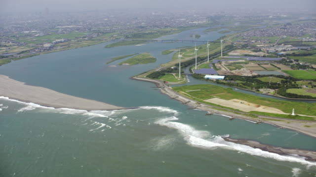aerial shot over japan - estuary stock videos & royalty-free footage