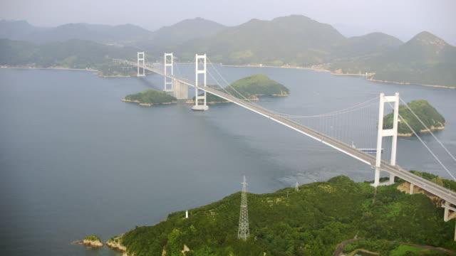 aerial shot over japan - nishiseto expressway stock videos & royalty-free footage
