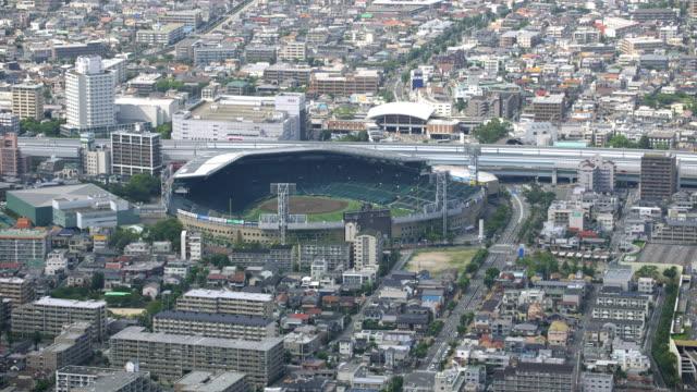 aerial shot over japan - baseballfeld stock-videos und b-roll-filmmaterial