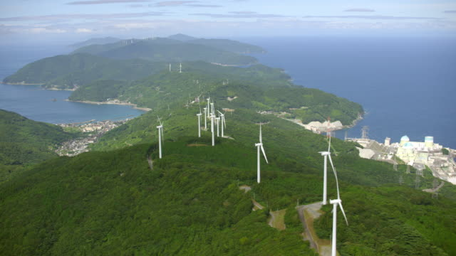 aerial shot over japan - wind power stock videos & royalty-free footage