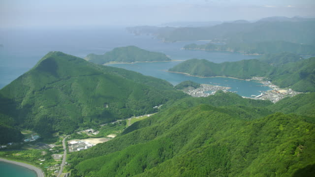 aerial shot over japan - coastal feature stock videos & royalty-free footage