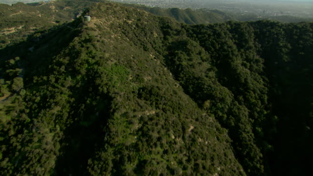 Aerial shot over Santa Monica Mountains in Los Angeles, California.