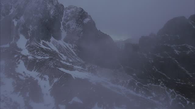 Aerial shot over sharp mountain peaks.