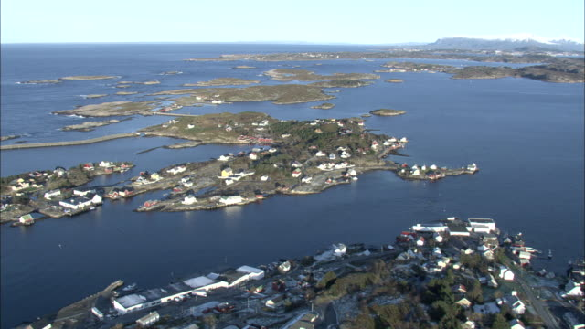 Aerial shot over small inhabited islands in west Norway.