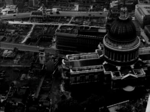 aerial shot over st pauls cathedral - 1950 stock videos and b-roll footage