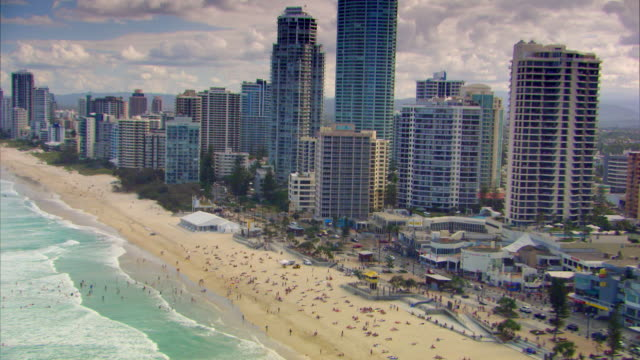 Aerial shot over the beach at Surfers Paradise in Queensland