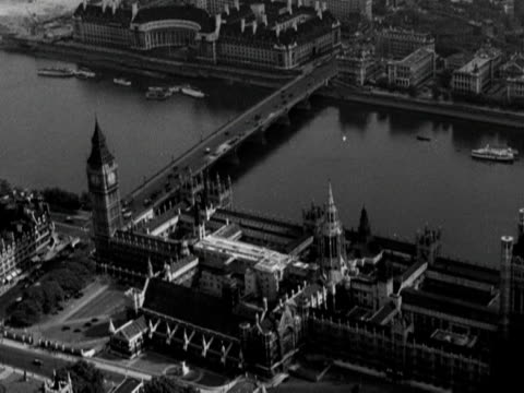 aerial shot over the houses of parliament - 1950 stock videos and b-roll footage