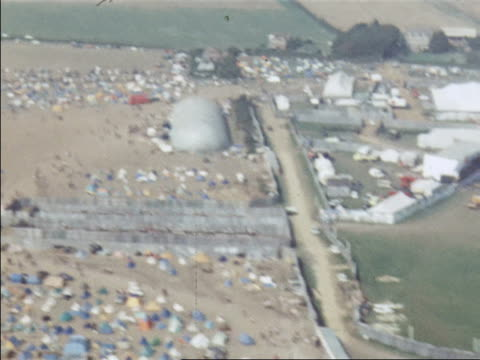 aerial shot over the isle of wight music festival - isle of wight stock videos & royalty-free footage