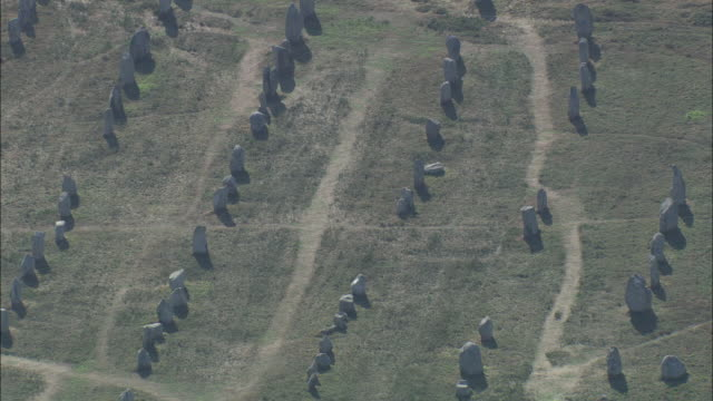 Aerial shot over the neolithic menhir stones at Carnac.