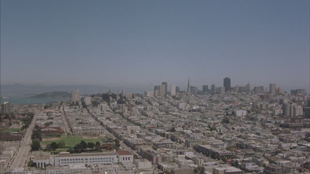 Aerial shot over the San Francisco area and downtown skyline.