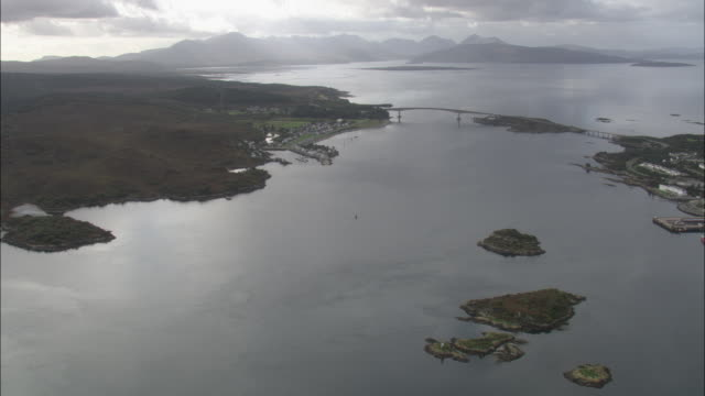 Aerial shot over the Skye Bridge.