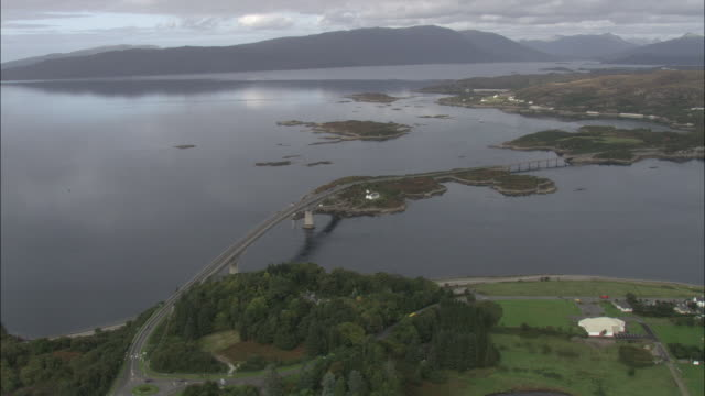 aerial shot over the skye bridge.  - scotland stock videos & royalty-free footage