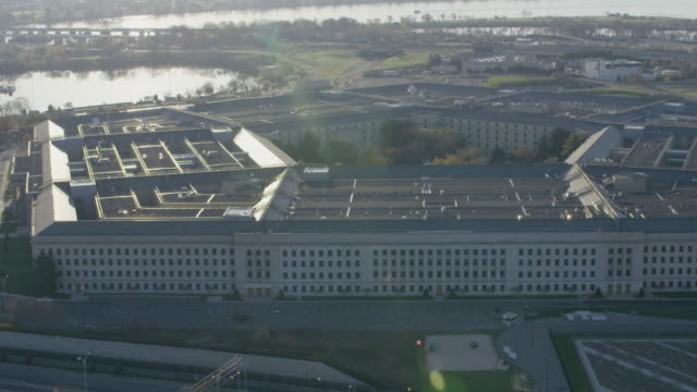 Aerial shot panning right around The Pentagon, D.C. daytime