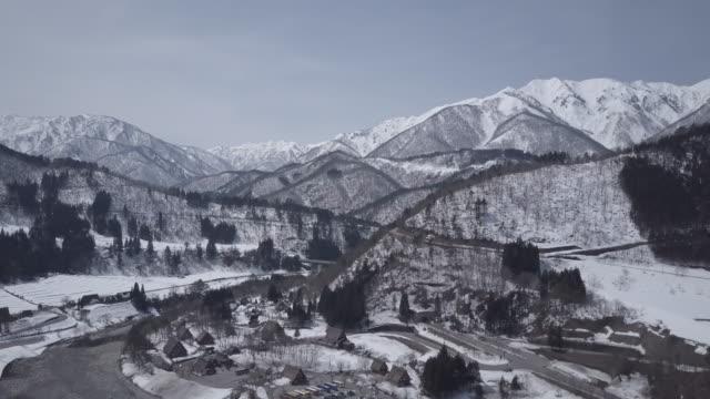 4K Aerial SHOT: Shirakawago Gassho-Dukuri Gifu, Chubu World Heritage Japan