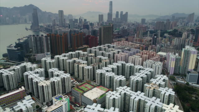 aerial shot showing the scale of whampoa garden housing estate, hung hom, kowloon, hong kong - engineering stock videos & royalty-free footage