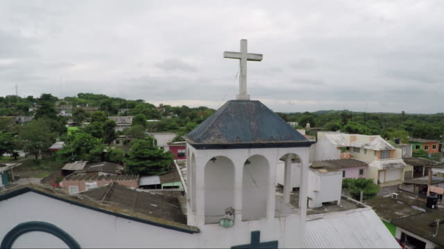 aerial shot, small church in mexico - church stock videos & royalty-free footage