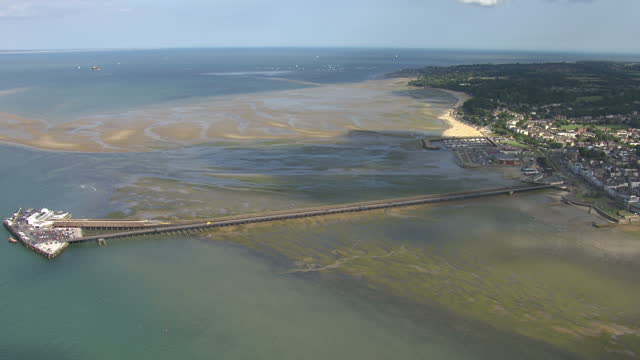 aerial shot sof the beach coast on the isle of wight shot in summer isle of wight coast beach aerials on august 19 2013 in newport isle of wight - isle of wight stock videos & royalty-free footage