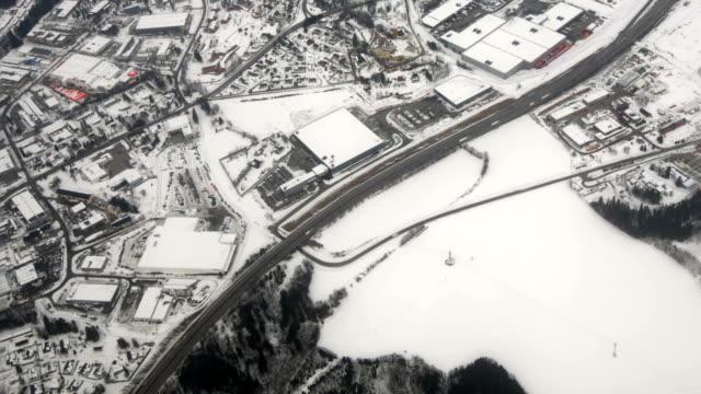 Aerial Shot Suburb Winter