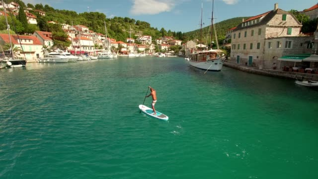 Aerial Shot SUP Stand Up Paddling in Croatia