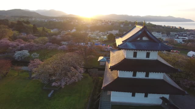 aerial shot taken by drone; cherry trees and matsumae castle in the grounds of matsumae park, hokkaido, japan. - 城点の映像素材/bロール