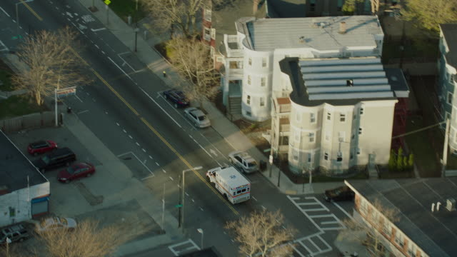 Aerial Shot Tracking Ambulance In Boston