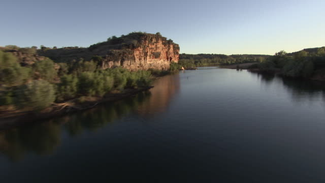 Aerial shot travelling down river in Australia