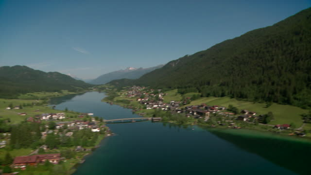 aerial shot weissensee - carinthia (gailtal alps) - carinthia stock videos & royalty-free footage