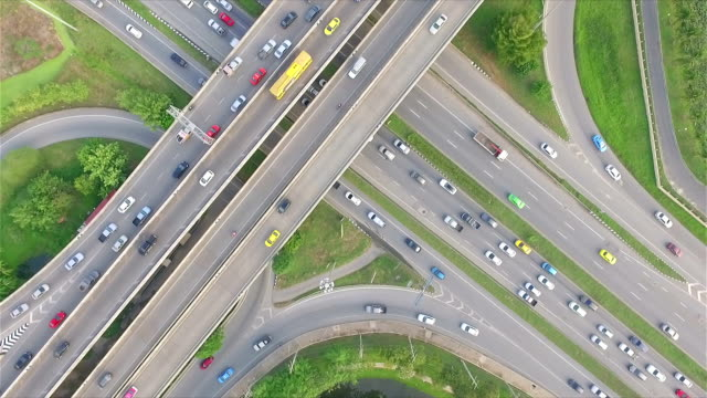 Aerial shot:Busy freeway in Bangkok Thailand