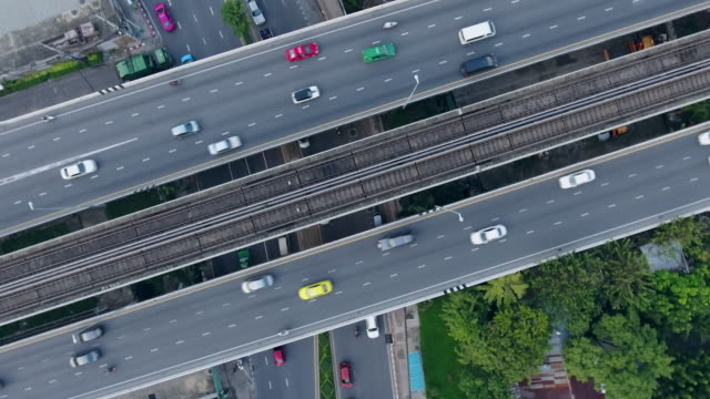 aerial shot:busy freeway in bangkok thailand - motorway stock videos & royalty-free footage