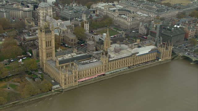 Aerial shots circling over the Houses of Parliament on Budget day on November 22 2017 in London England