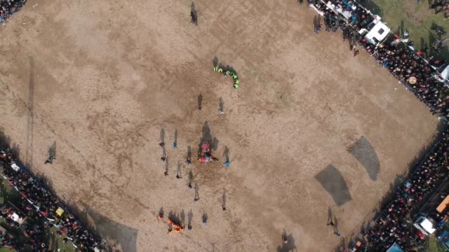 Aerial shots during 13th Camel Wrestling Festival with 100 camels from neighboring cities in Turkey's western Manisa province on March 03 2019