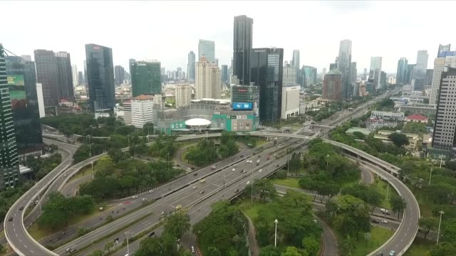 aerial shots from jakarta's main streets such as semanggi and sudirman areas in indonesia on april 03, 2020 amid covid-19 outbreak. indonesia on... - indonesia stock videos & royalty-free footage